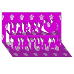 Skull Pattern Hot Pink Happy Birthday 3D Greeting Card (8x4)