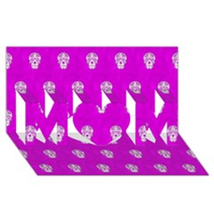 Skull Pattern Hot Pink Mom 3d Greeting Card (8x4)