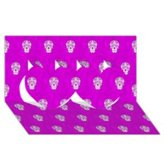 Skull Pattern Hot Pink Twin Hearts 3d Greeting Card (8x4)