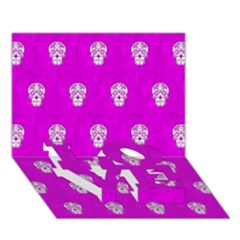 Skull Pattern Hot Pink LOVE Bottom 3D Greeting Card (7x5)