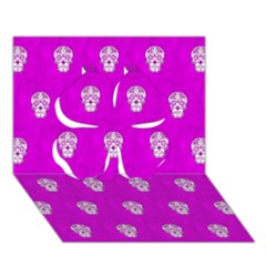 Skull Pattern Hot Pink Clover 3d Greeting Card (7x5)