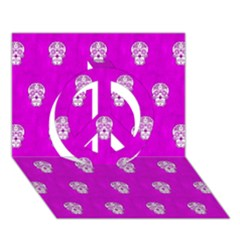 Skull Pattern Hot Pink Peace Sign 3D Greeting Card (7x5)