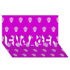 Skull Pattern Hot Pink Engaged 3d Greeting Card (8x4)