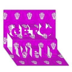 Skull Pattern Hot Pink Get Well 3d Greeting Card (7x5)