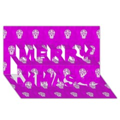 Skull Pattern Hot Pink Merry Xmas 3d Greeting Card (8x4)