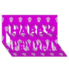 Skull Pattern Hot Pink Happy New Year 3D Greeting Card (8x4)