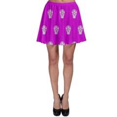 Skull Pattern Hot Pink Skater Skirts