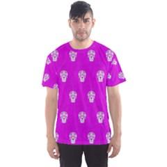 Skull Pattern Hot Pink Men s Sport Mesh Tees