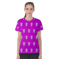 Skull Pattern Hot Pink Women s Cotton Tees