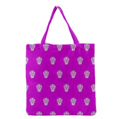 Skull Pattern Hot Pink Grocery Tote Bags