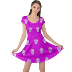 Skull Pattern Hot Pink Cap Sleeve Dresses