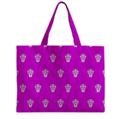 Skull Pattern Hot Pink Zipper Tiny Tote Bags