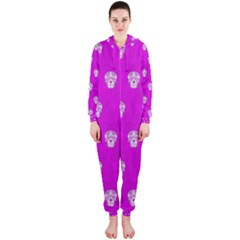Skull Pattern Hot Pink Hooded Jumpsuit (Ladies)