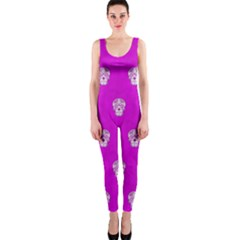 Skull Pattern Hot Pink OnePiece Catsuits