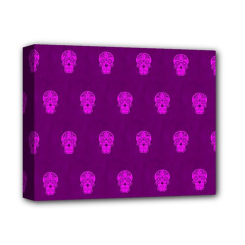 Skull Pattern Purple Deluxe Canvas 14  x 11