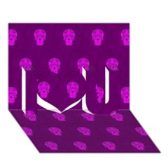 Skull Pattern Purple I Love You 3D Greeting Card (7x5)