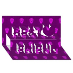 Skull Pattern Purple Best Friends 3d Greeting Card (8x4)