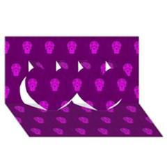 Skull Pattern Purple Twin Hearts 3d Greeting Card (8x4)