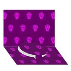 Skull Pattern Purple Circle Bottom 3D Greeting Card (7x5)