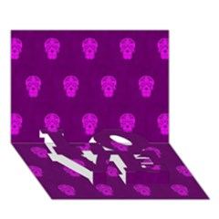 Skull Pattern Purple LOVE Bottom 3D Greeting Card (7x5)