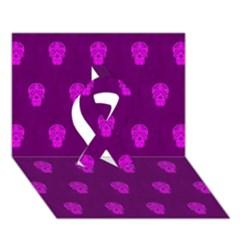 Skull Pattern Purple Ribbon 3d Greeting Card (7x5)
