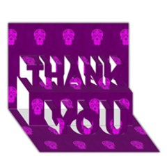 Skull Pattern Purple Thank You 3d Greeting Card (7x5)