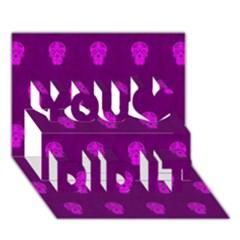 Skull Pattern Purple You Did It 3D Greeting Card (7x5)