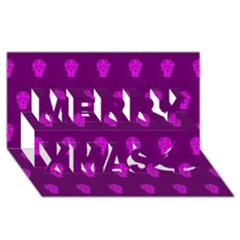 Skull Pattern Purple Merry Xmas 3d Greeting Card (8x4)