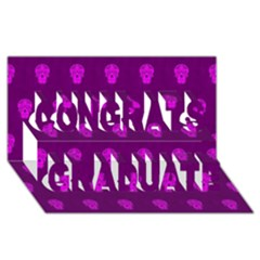 Skull Pattern Purple Congrats Graduate 3D Greeting Card (8x4)