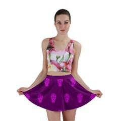 Skull Pattern Purple Mini Skirts