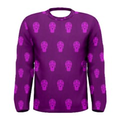 Skull Pattern Purple Men s Long Sleeve T-shirts