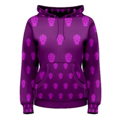 Skull Pattern Purple Women s Pullover Hoodies
