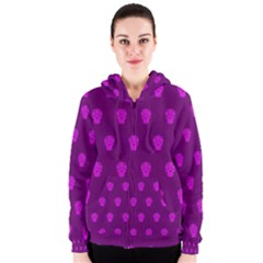 Skull Pattern Purple Women s Zipper Hoodies