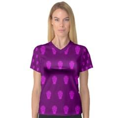 Skull Pattern Purple Women s V-Neck Sport Mesh Tee