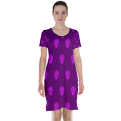 Skull Pattern Purple Short Sleeve Nightdresses