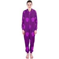 Skull Pattern Purple Hooded Jumpsuit (Ladies)