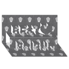 Skull Pattern Silver Best Friends 3d Greeting Card (8x4)