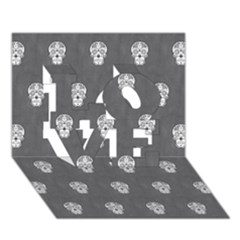 Skull Pattern Silver LOVE 3D Greeting Card (7x5)