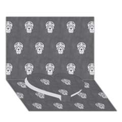Skull Pattern Silver Heart Bottom 3D Greeting Card (7x5)