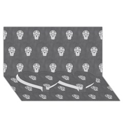 Skull Pattern Silver Twin Heart Bottom 3D Greeting Card (8x4)
