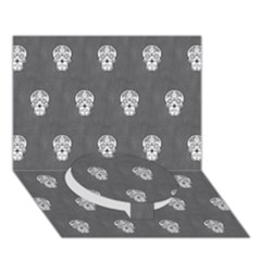 Skull Pattern Silver Circle Bottom 3d Greeting Card (7x5)