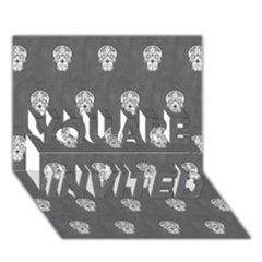Skull Pattern Silver You Are Invited 3d Greeting Card (7x5)