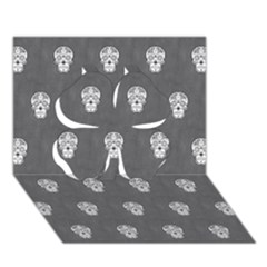 Skull Pattern Silver Clover 3D Greeting Card (7x5)