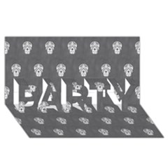 Skull Pattern Silver PARTY 3D Greeting Card (8x4)