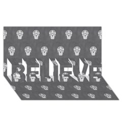 Skull Pattern Silver BELIEVE 3D Greeting Card (8x4)