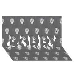 Skull Pattern Silver SORRY 3D Greeting Card (8x4)