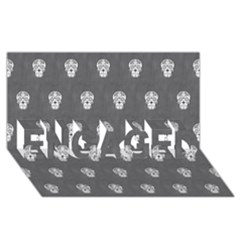 Skull Pattern Silver ENGAGED 3D Greeting Card (8x4)