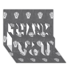Skull Pattern Silver THANK YOU 3D Greeting Card (7x5)