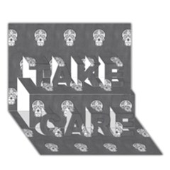 Skull Pattern Silver TAKE CARE 3D Greeting Card (7x5)