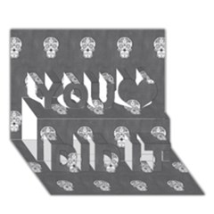 Skull Pattern Silver You Did It 3D Greeting Card (7x5)